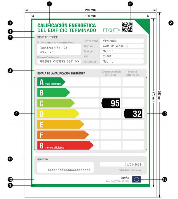 ejemplo de etiqueta de certificado energético
